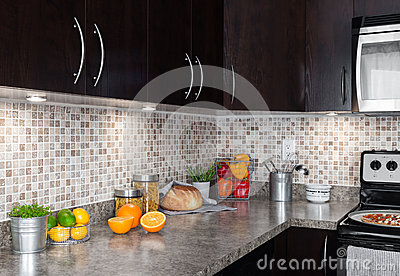 Contemporary kitchen with food ingredients on countertop