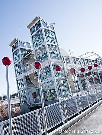 Contemporary light rail station