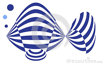 Contemporary Logo of a Blue GoldFish in Stripes