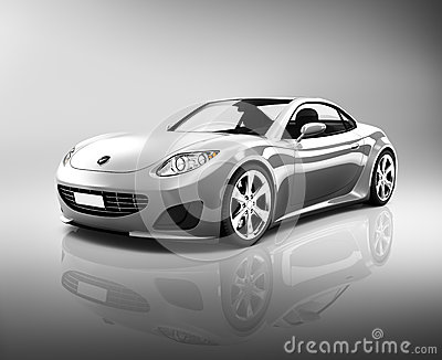 Contemporary Luxury Silver Sports Car Stock Photo Image