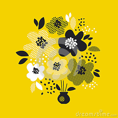 Free Contemporary Spring Floral Design With Yellow Abstract Flowers. Modern Geometry Vector Illustration. Stock Image - 88183181