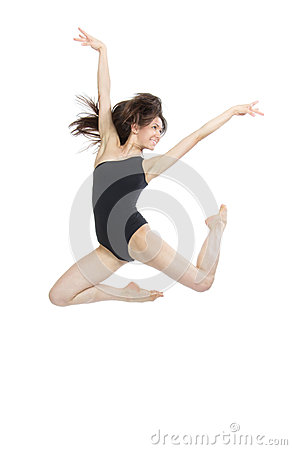 Contemporary style woman ballet dancer jumping
