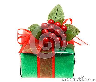 Contenitore di regalo verde di natale