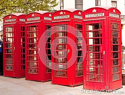 Contenitori di telefono rossi britannici