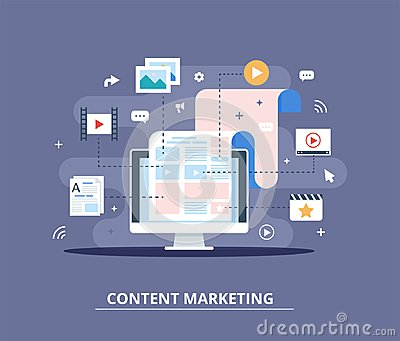 Content Marketing, Blogging and SMM concept in flat design. The blog page fill out with content. articles and media Vector Illustration