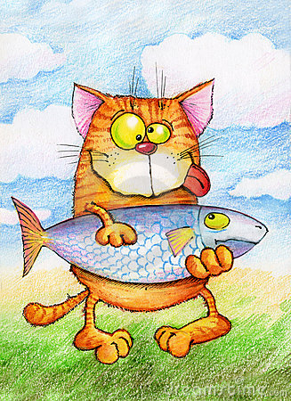 Contented cat holding  very big fish