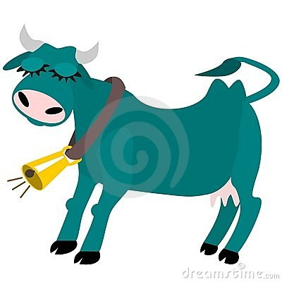 Contented cow with bell
