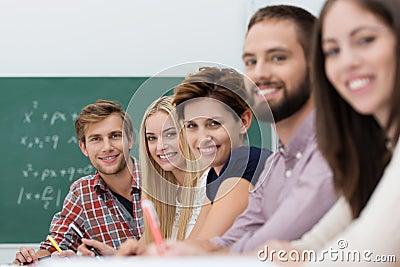 Contented happy university students