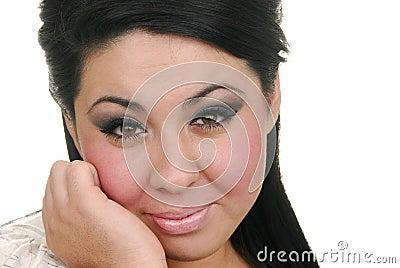 Contented hispanic woman