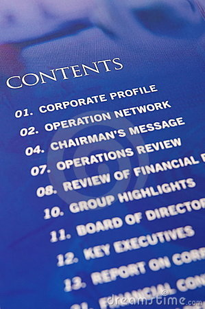 Contents in annual report
