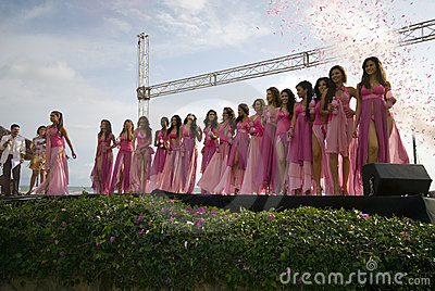Contestants beauty contest in montanita ruta del sol miss ecuad Editorial Photo