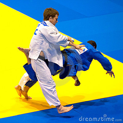 Contestants participate in the Judo World Cup Men Editorial Photography