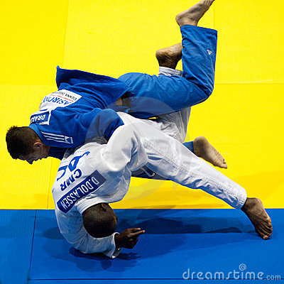 Contestants participate in the Judo World Cup Men Editorial Photo