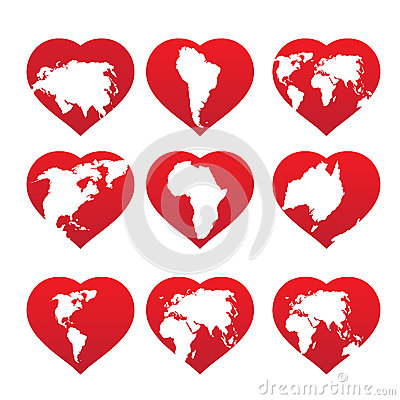 Continents inside red heart frame