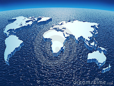 Continents on ocean sphere