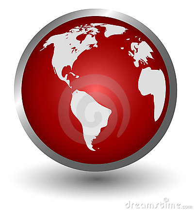 Continents on a red button