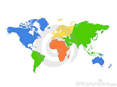 Continents World map - colorful