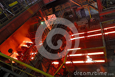 Continuous casting machine at steel works