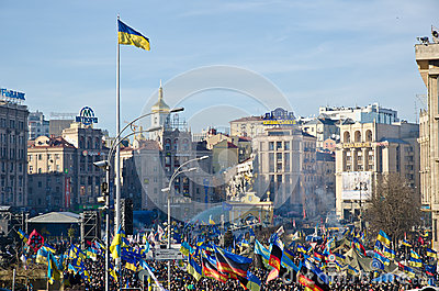 Continuous Euromaidan in the Ukrainian capital Editorial Photo