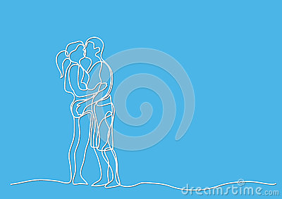 Continuous line drawing of loving couple Vector Illustration