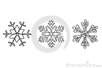 Continuous line drawing set of snowflakes, winter theme. Vector Illustration