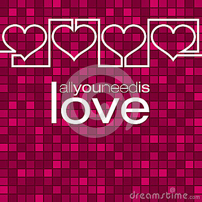 Continuous line heart Valentine's Day card Vector Illustration