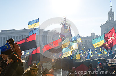 Continuous mass protest in the Ukrainian capital Editorial Image