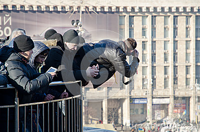Continuous mass protest in the Ukrainian capital Editorial Stock Photo