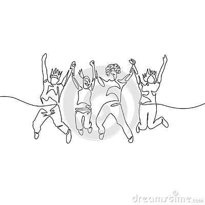 Continuous one line drawing jumping diversity group Vector Illustration
