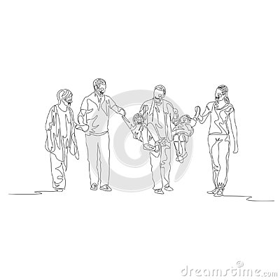 Continuous one line family multi generation, Parents swinging kids Vector Illustration