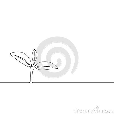 Continuous one line growing sprout, Plant leaves. Ecology concept Vector Illustration