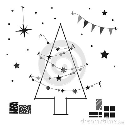 Creative contour of the Christmas tree. Vector Illustration