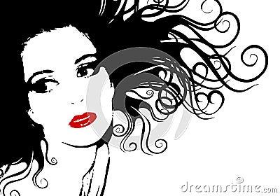 contour femelle noir et blanc de silhouette de visage photo stock image 3877450. Black Bedroom Furniture Sets. Home Design Ideas