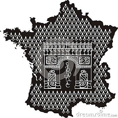 Contour of France with Arc de Triomphe