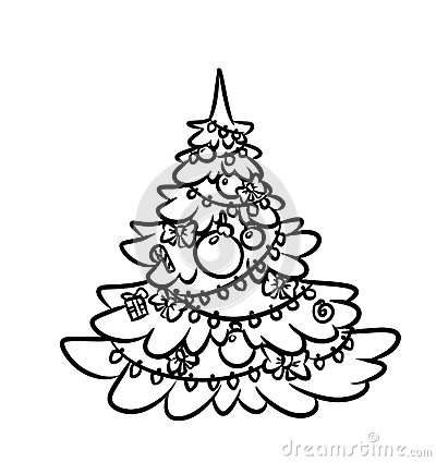 Contour illustration christmas tree