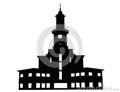 Contour of Ivano-Frankivsk town hall, Ukraine