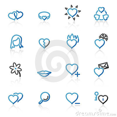 Free Contour Love Web Icons Royalty Free Stock Image - 7212506