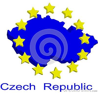 Contour map of Czech Republic