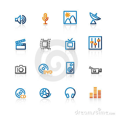 Free Contour Media Icons Stock Images - 2266004