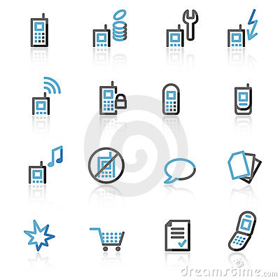 Free Contour Mobile Phone Web Icons Royalty Free Stock Photography - 7212557