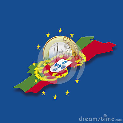 Free Contour Of Portugal With European Union Stars And Euro Coin Against Blue Background, Digital Composite Royalty Free Stock Photography - 50481137