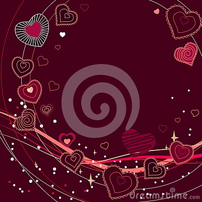Contour red hearts on dark red background
