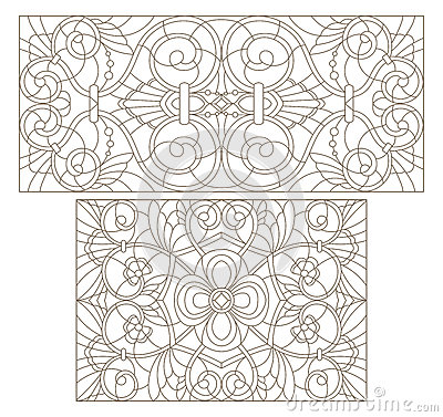 Free Contour Set With  Illustrations Of Stained Glass With Abstract Swirls And Flowers , Horizontal Orientation Stock Photography - 93459812