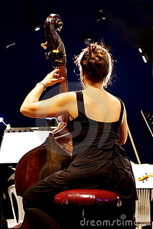 Contrabass player Editorial Photography