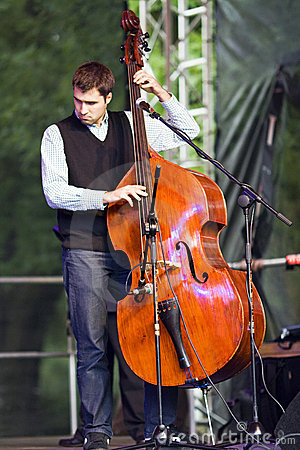 Contrabass player Editorial Stock Photo