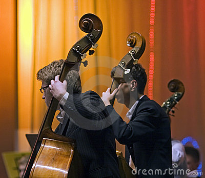 Contrabass players Editorial Stock Image