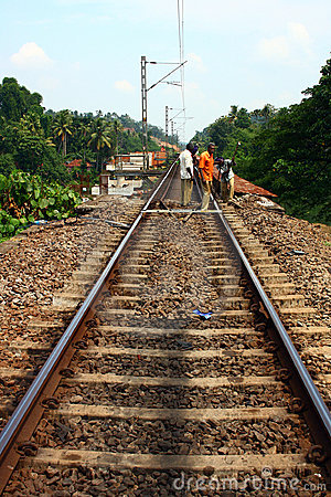 Contract Employees Working on Indian Railway Track Editorial Stock Image