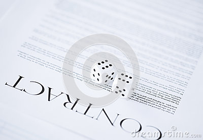 Contract paper with gambling dices