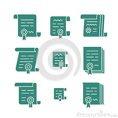 Contract Solid Icons Stock Vector - Image: 93858937