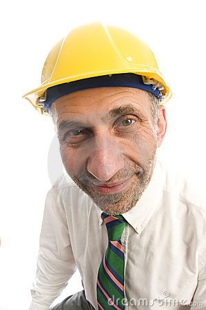 Contractor construction man with hard hat